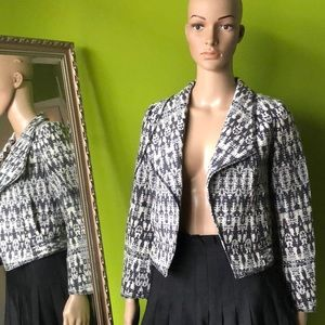 10 Crosby Derek Lam Tweed Navy White Jacket SZ 0